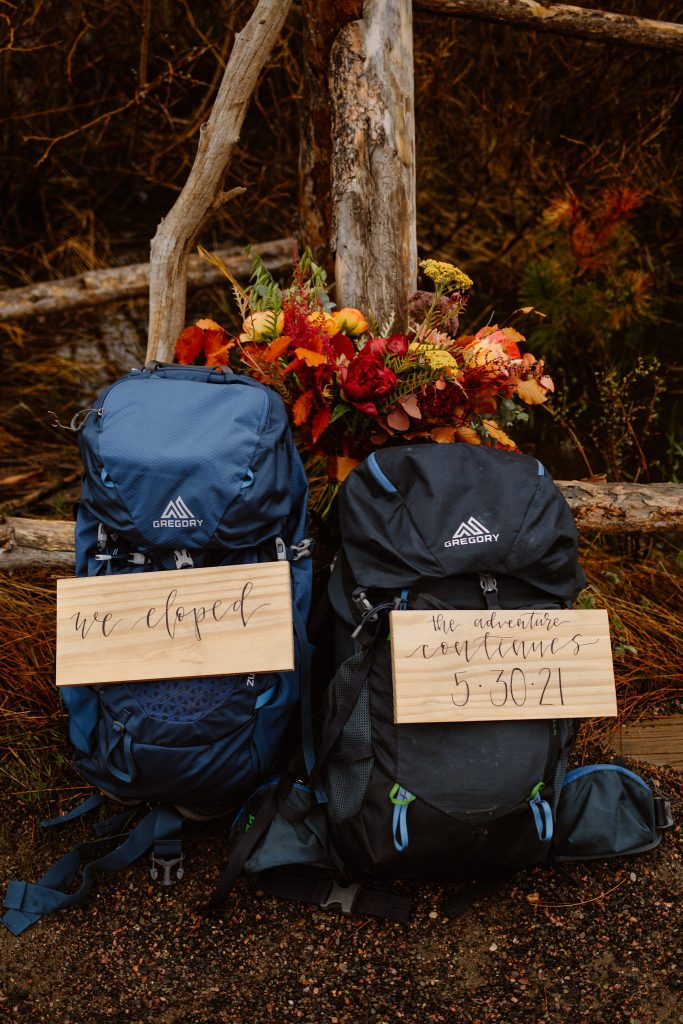 """two gregory backpacks with signs attached that say """"we eloped"""", and """"the adventure continues"""""""