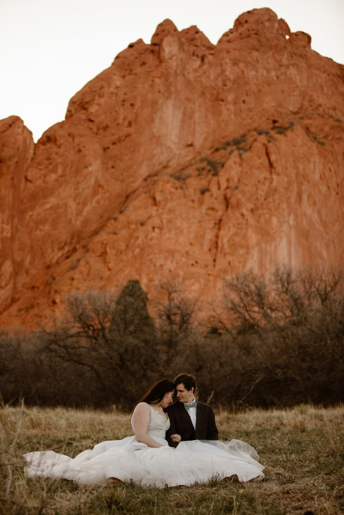 a couple is sitting in a grassy area wearing wedding attire with the kissing camels in the background of the garden of the gods park